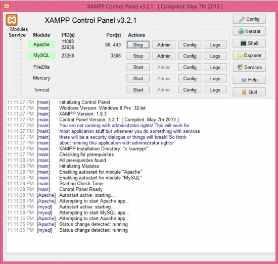 How to Install XAMPP in Windows8 with Memcached